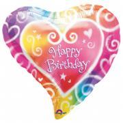 Folienballon Happy Birthday Herz ø45cm