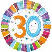 Folienballon Happy Birthday Radiant #30 holo 45cmØ