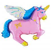 Folienb. lose Pegasus Einhorn II# Pink 85x60cm