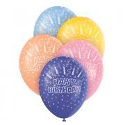 5 Latexballons Happy Birthday Candles ø30cm bunt