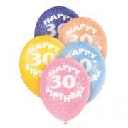 5 Latexballons Happy 30th Birthday ø30cm bunt