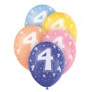 5 Latexballons Zahl 4 Bunt ø30cm