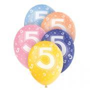 5 Latexballons Zahl 5 Bunt ø30cm