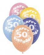 5 Latexballons Happy 50th Birthday ø30cm bunt