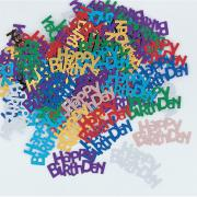 Buntes Metallic-Konfetti Happy Birthday