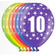 6 bunte Latexballons Zahl 10 ø30cm