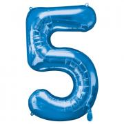 Ballon Riesenzahl Fünf - 5 blau