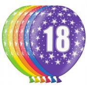 6 bunte Latexballons Zahl 18 ø30cm