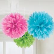 Wabenball Fluffy Flower Multicolor ø40cm 3Stück