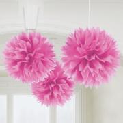 3 Pompoms Flower in Pink ø40cm