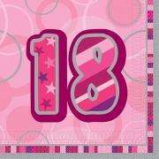 16 Servietten Zahl 18 Glitz pink 33cm
