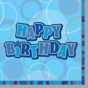 Servietten Geburtstag Glitz Blau HB 33x33 cm