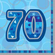16 Servietten Zahl 70 Glitz blau 33cm