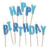 13 Tortenkerzen Happy Birthday Glitzer Blau