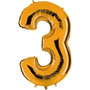 Ballon Riesenzahl Drei 3 Gold