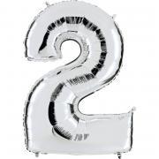 Ballon Riesenzahl Zwei 2 Silber