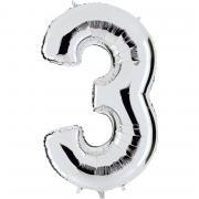 Ballon Riesenzahl Drei 3 Silber
