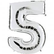 Folienballon Riesenzahl Silber #5 100cm