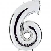 Folienballon Riesenzahl Silber #6 100cm