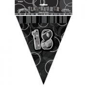 Wimpelkette Glitz schwarz 18th Birthday 274cm