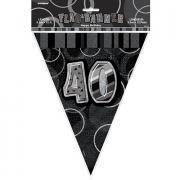 Wimpelkette 40th Birthday Glitz schwarz 274cm