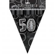 Wimpelkette Glitz schwarz 50th Birthday 274cm