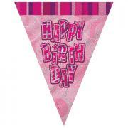 Wimpelkette Glitz pink Happy Birthday 274cm