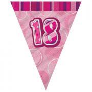Wimpelkette Glitz pink 18th Birthday 274cm