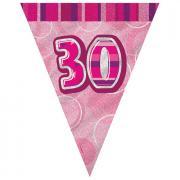 Wimpelkette Glitz pink 30th Birthday 274cm