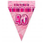 Wimpelkette 40th Birthday Glitz pink 274cm