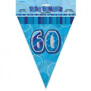Wimpelkette 60th Birthday Glitz blau 274cm