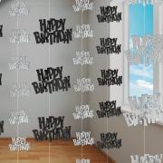 6 Hängedekos Happy Birthday Schwarz Glitzernd