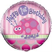 Folienballon 1. Geburtstag Marienkäfer ø45cm