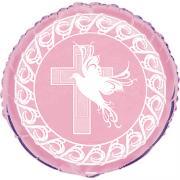 Folienballon Kreuz & Taube rosa 45cmø