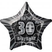 Folienballon 30th Birthday Glitz Schwarz ø50cm
