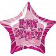 Folienballon Glitz Stern Happy Birthday pink 50cmØ