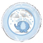 Folienballon Elefant Baby Shower blau 45cmø
