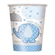 8 Pappbecher Elefant Baby Shower blau 266ml