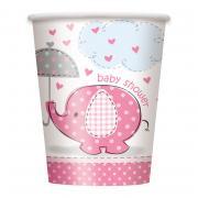 Pappbecher Elefant Baby Shower pink 266ml 8 Stück