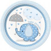Pappteller Elefant Baby Shower blau ø23cm 8 Stück