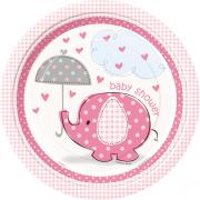 8 Pappteller Elefant Baby Shower Pink ø23cm