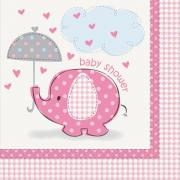 Servietten Elefant Baby Shower pink 33cm 16 Stück