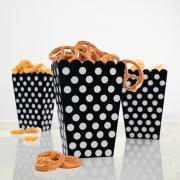 8 Snackboxen Dots Punkte in Schwarz