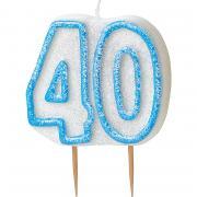Kerze Zahl #40 Glitzer Blau