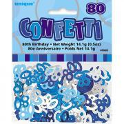 Konfetti Glitz Metallic Blau Zahl 80 14g