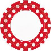 Pappteller Dots Rot ø23cm 8 Stück