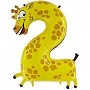 Tier Ballon Zahl 2 Giraffe