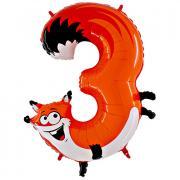 Tier Ballon Zahl 3 Fuchs