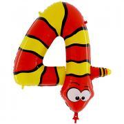 Folienballon Riesenzahl Tier #4 Schlange 100cm