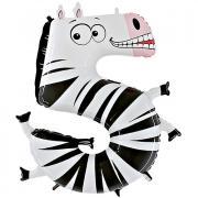Folienballon Riesenzahl Tier #5 Zebra 100cm